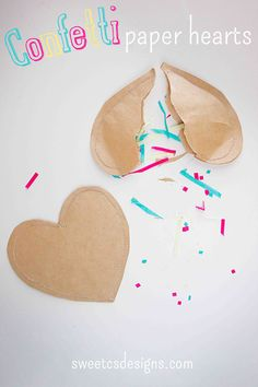 Confetti Paper Hearts - these are so easy to make and are a fun, non-candy valentine! Or give as Valentines party favors!