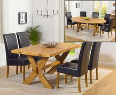 Bordeaux Oak All Sides Extending Dining Table and Rustique Chairs