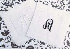 Monogrammed Cloth Cocktail Napkins by WhiteTulipEmbroidery wedding napkins, wedding cocktail napkins