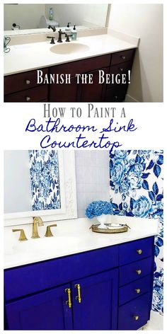 DIY Painted Bathroom Countertop and Sink. Banish beige bathroom countertop and sinks with paint. How to paint countertops. How to paint bathroom sinks. #bathroomremodel #bathroomideas #bathroommakeover #paintedsink #bathroom #bathroomdesign