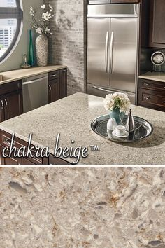 Set the tone with Chakra Beige. A sophisticated blend of off-whites, taupes, and caramels, choose this gorgeous quartz to bring style and personality to any space.