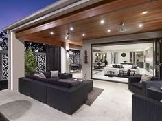 Seamless integration of indoor and outdoor Living Areas with the same flooring continued inside, out. Outdoor Kitchen Design, Patio Design, House Design, Alfresco Designs, Alfresco Ideas, Casa Patio, Interior Decorating, Interior Design, Decorating Ideas