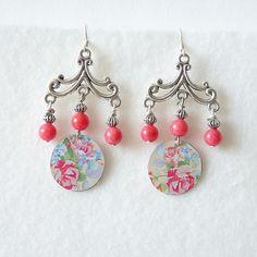 Floral Tin Earrings Vintage Earrings Wedding Jewelry Shabby