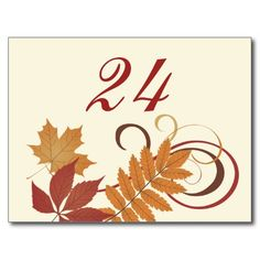 Table Number Card   Autumn Falling Leaves Post Card