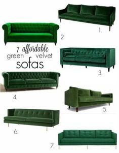Green velvet sofas and the One Room Challenge Suburban B's On the hunt for a new sofa? We're sharing our top seven opinions for green velvet sofas that are affordable, well made and with great lines! Living Room Green, Green Rooms, New Living Room, Living Room Sofa, Home And Living, Green Living Room Furniture, Apartment Living, Green Couch Decor, Green Couches
