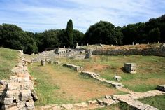 view on roman remainings in national park Brioni, Croatia