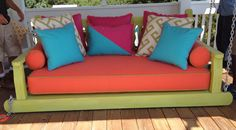 Sunnyside Distressed with a bright color $1895 Cushions are additional Swing Beds, Porch Swing, Outdoor Sofa, Outdoor Furniture, Outdoor Decor, Daybed, Cushions, Couch, Bright