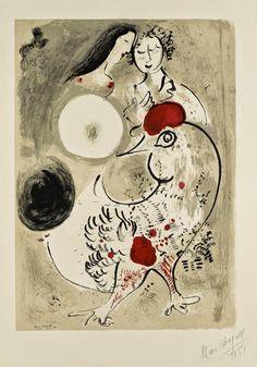 Le coq gris. Lithographie Marc Chagall