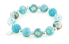 Jilzara Medium Premium Handmade Clay Beads 12mm Bracelet Peacock Teal New | eBay