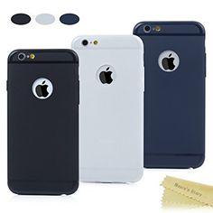 9513ca136b8 3x iPhone 6 6s Funda Silicona Mate Antideslizante,Transparente,Negro,Azul  oscuro -