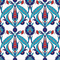This tile is decorated with Ottoman Iznik carnation and floral pattern. Patterns on these tiles are replicas of and century Ottoman Iznik tile Turkish Design, Turkish Art, Turkish Tiles, Portuguese Tiles, Moroccan Tiles, Ceramic Wall Tiles, Tile Art, Cement Tiles, Ceramic Mugs