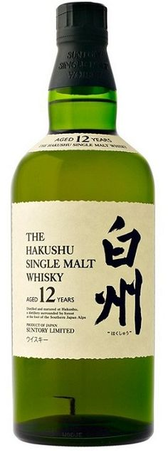"""""""Whisky, like a beautiful woman, demands appreciation. You gaze first, then it's time to drink."""" - Haruki Murakami. Hakushu, aged twelve years, is a Suntory whisky distilled in the Southern Alps of Japan.  Pear, oak, light peat, spice - like a forest of delicious notes."""