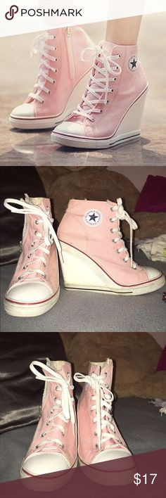 Pink Converse Wedges These are the perfect shoes for any Kpop fan. They are so similar to the kpop styleZ. Used a few times and fits small feet. Bubblegum pink and sooo cute!! tenwood Shoes Wedges