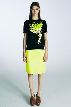 Jonathan Saunders | Look 1 | Top $830 http://www.net-a-porter.com/product/409879 | Skirt $770 http://www.ssense.com/women/product/jonathan_saunders/acid_green_a-line_skirt/95035 |