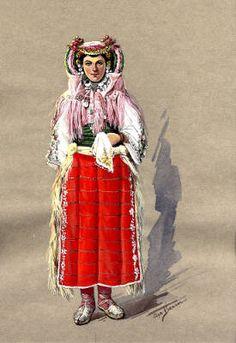 Bride of Kosovo Polje, Serbia (Kosovo, former Yugoslavia) - watercolor by Olga Benson, circa 1930-1937 :: Blanche Payne Regional Costume Photograph and Drawing Collection
