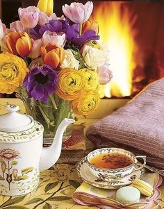 Tea by the fire. Aww perfect!