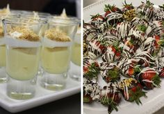 Banana pudding shots & chocolate covered strawberries by Down South Delights