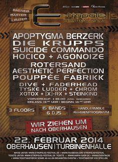 """E-tropolis Festival 2014 - """"Bässer - Härter - Lauter"""" als der Rest, steht das E-tropolis Festival bereits seit 2010 für exzellenten Elektrosound, dessen Bandbreite die dunklen Facetten der elektronischen Musik in einem geballten Event miteinander vereint. Diesem Anspruch bleiben wir weiterhin treu und präsentieren Euch am 22. Februar 2014 fünfzehn der besten Dark-Electro Acts auf zwei Bühnen sowie einen zusätzlichen Partyfloor mit insgesamt sechs DJs."""