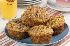 Old-Fashioned Glory Muffins | Contains pineapple, apple, carrots and walnuts.  MrFood.com