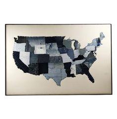Denim Patchwork US States Frame Wall Art