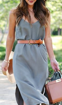 Olive dress with cognac accessories