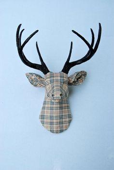 projects ideas dear head.  fabric deer head pattern Colorful Art Decoupage Ceramic Deer Head Faux Taxidermy Animal Wall