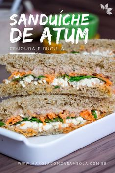 Receita de Sanduíche Natural de Atum, com cenoura, rúcula e queijo branco. Ceviche, Sandwiches, Breakfast Recipes, Food Porn, Food And Drink, Veggies, Fried Rice, Healthy Recipes, Healthy Food