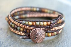 Earthy Copper and Czech Glass Handmade Beaded Leather by MindyG