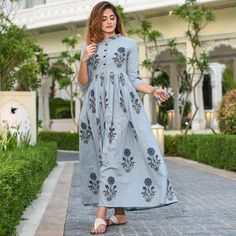 Discover Latest & Trendy Clothing & Accessories like Picnic Cotton Dress online in Best Price! Casual Gowns, Casual Frocks, Pakistani Dresses Casual, Indian Gowns Dresses, Stylish Dresses, Cotton Dress Indian, Cotton Long Dress, Casual Cotton Dress, Cotton Dresses Online