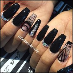 Coffin nails @KortenStEiN Sexy Nails, Dope Nails, Stiletto Nails, Black Coffin Nails, Nail Swag, Gorgeous Nails, Pretty Nails, Uñas Fashion, Ballerina Nails