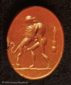 Hercules and the Nemean lion, jasper intaglio, 1st-6th c., Kelsey 26014, Bonner 109