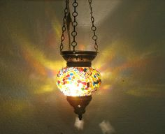 Moroccan lantern mosaic hanging lamp glass chandelier light lampen candle 061 #Handmade #Moroccan