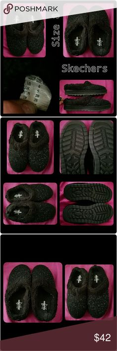 ♥⭐Super Comfy Black Glittery Skecher Slippers♥⭐ ♥⭐♥Oh my goodness these Skechers slippers are so nice and comfy!!♥⭐♥I only tried them on but they've never been worn..Literally like brand-new♥They don't come with the Box♥ They were a gift.They are size 8. What I love about them is they have REALLY cute silver glitter on them!! ⭐⭐and they're nice and fuzzy and comfortable!!⭐♥ ⭐SO COZY FOR THOSE COLD NIGHTS!☺♥⭐♥⭐♥⭐♥⭐♥ Skechers Shoes Slippers
