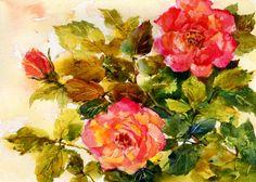 Rambling Rose  An Original Watercolor Painting by by LindaHenryArt