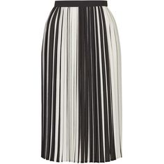 TopShop Petite Stripe Pleat Midi Skirt ($79) ❤ liked on Polyvore featuring skirts, monochrome, stripe midi skirt, textured skirt, topshop, striped skirt and pleated midi skirt