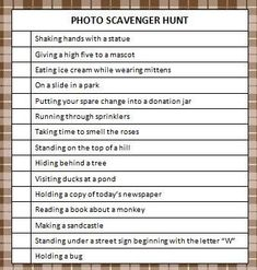 This photo scavenger hunt is a fun game to play with your kids. Some items are easy to find, others a bit more tricky. Enjoy the free printable game!