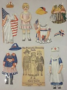 Antique Victorian Paper Doll Patriotic Dressing Doll Farm and Home w/ Outfits 6""
