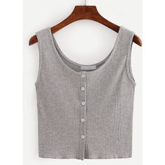 Buttoned Front Ribbed Knit Crop Tank Top - Grey (11 CAD) ❤ liked on Polyvore featuring tops, shirts, crop top, tank tops, cropped, grey, stripe shirt, grey vest, gray tank top and gray crop top