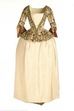 Caraco jacket and white skirt ensemble, c. 1740, Spanish