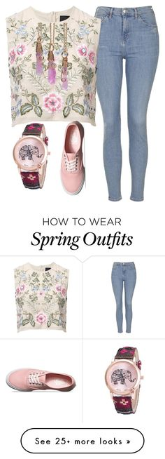 """Spring pink fashion outfit"" by myfriendshop on Polyvore featuring Topshop, Needle & Thread and Vans"