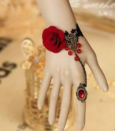 Vintage royal rose lace vintage bracelet with ring set