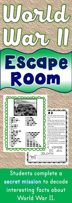 The World War II Escape Room will take students on a secret mission around the classroom! This escape room has students decode interesting facts about World War II. This is the perfect resource to introduce or review FDR, Hitler and the Holocaust. The World War II Escape Room has students walking around the classroom breaking codes.