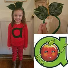 Annie Apple Costume from Letterland for a Letterland parade. A plain red long sleeve shirt with an a cut from a sheet of felt hot glued on. Headband was made from a St. Patrick's day bow headband from Dollar Tree with leaves from a leaf bouquet from Dollar Tree and a golden pipe cleaner, all put together with hot glue. Carnival Costumes, Diy Costumes, Halloween Costumes, Halloween Party, Halloween Crafts For Kids, Holidays Halloween, Halloween Decorations, Letterland Costumes, Annie Costume
