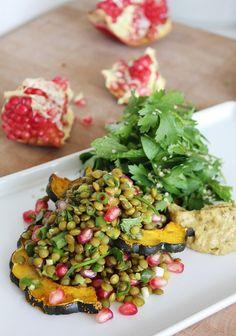 Roast Squash with Lentil Salad and Babaganoush