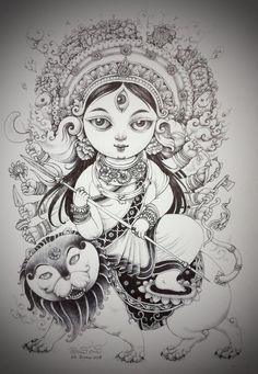Durga Devi. Pen Drawing on paper.