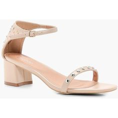 Boohoo Amelia Studded 2 Part Low Heel Sandal ($26) ❤ liked on Polyvore featuring shoes, sandals, mid-heel sandals, studded jelly sandals, low block heel sandals, block heel sandals and summer shoes