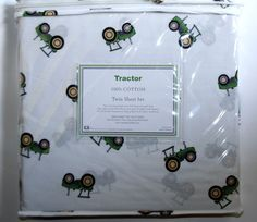 Hillcrest GREEN TRACTOR 3pc TWIN BED SHEET SET 100% Cotton John Deere Farm NEW #Hillcrest