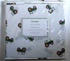 Hillcrest GREEN TRACTOR 3pc TWIN BED SHEET SET 100% Cotton John Deere Farm NEW #Hillcrest
