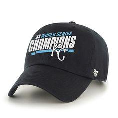 e51121ebd13bc9 Kansas City Royals 47 Brand 2 Time World Series Champions Navy Clean Up Hat  Cap Warrior