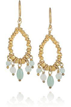 Chan Luu|14-karat gold-vermeil amazonite drop earrings|NET-A-PORTER.COM